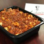 Rigatoni in a to-go container