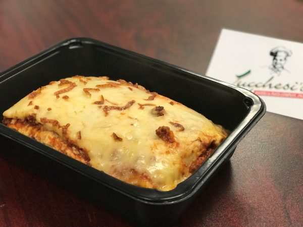 Lasagna in a to-go container