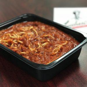 Spaghetti in a to-go container