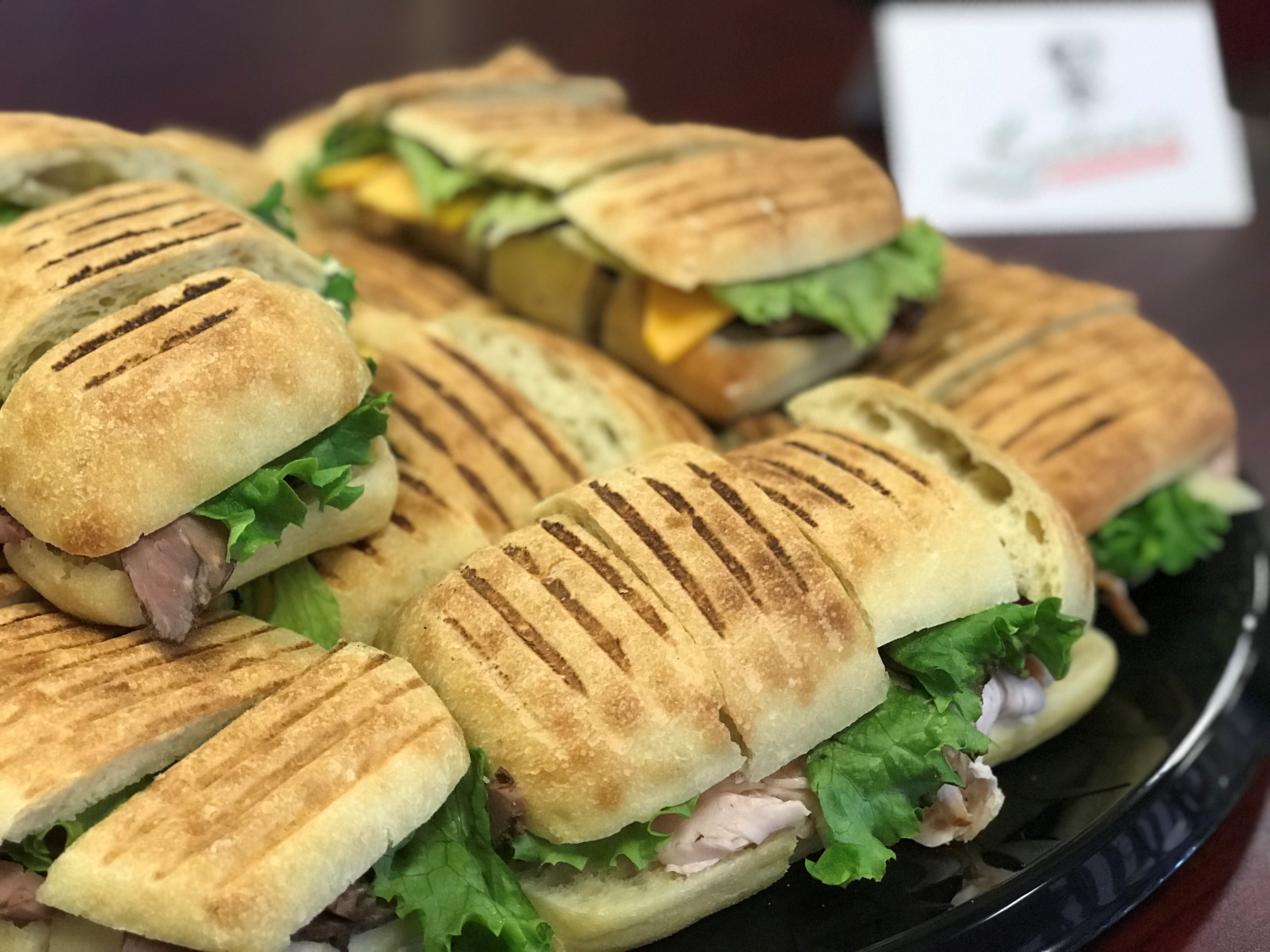 A tray of different panini's