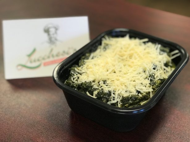 Spinach dip in a to-go container