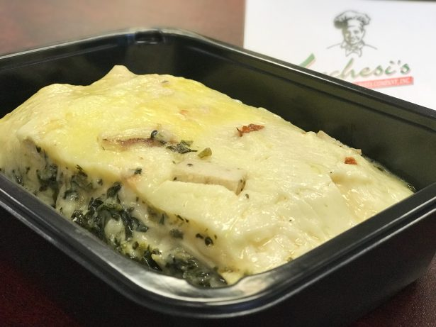 Chicken lasagna in a to-go container